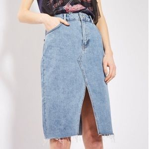 TopShop Denim Midi Jean Pencil Skirt Raw Hem 2